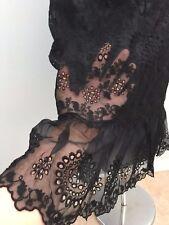 Women Kay Unger New York Black Knee High Embroidery Skirt Dress Size 8 M New