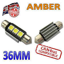 2 x 36mm Canbus Amber LED Number Plate Interior 36mm C5W 239 3 SMD Bulbs