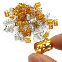 100pcs Gold Silver Mixed Dreadlock Braiding Beads Hair Braid Cuff Tube Clip 8mm