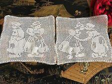 Incrustations anciennes Crochet d'art Personnages 18 x18 cm Création INC/12