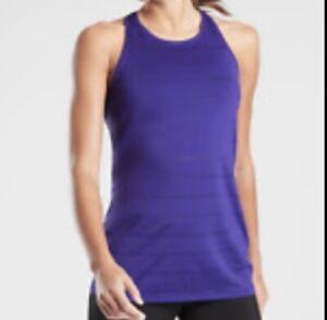 Athleta High Neck Chi Tank Shadow Stripe XXS Blue Top Shirt