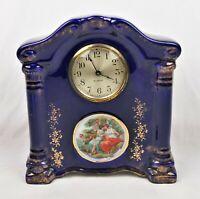 Antique Gilbert Cobalt Blue Porcelain Mantel Shelf Clock For Restoration Parts