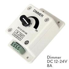 LED Strip Light Dimmer Switch 12V 24V 8A Brightness Controller White Power Save