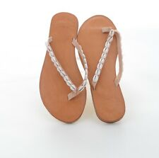 World Family Designer Damen Zehen Sandalen Schlappen Leder Braun Gr 39 Neu