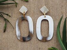 Buffalo Horn Material Earrings Long Oval