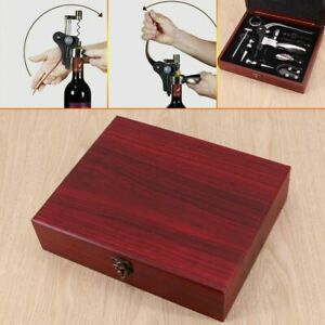 Wine Bottle Opener Corkscrew Tool Set & Wooden Gift Box Accessories