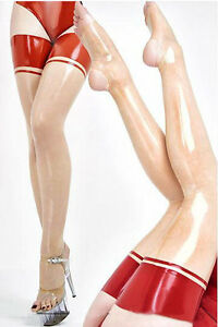 Latex Stockings Transparent Rubber Stockings With Red Trims Customized