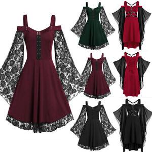 Women Vintage Punk Victorian Medieval Witch Halloween Fancy Dress Maxi Dresses