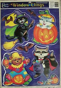 Vintage HALLOWEEN WINDOW CLINGS ~ BATS CAT CLOWN BEAR PUMPKINS ~ AWESOME!