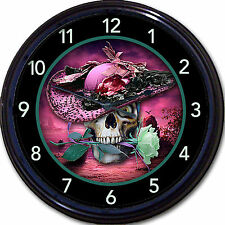 Steampunk Skull Skeleton Gothic Goth Wall Clock lady Vintage Victorian New 10""