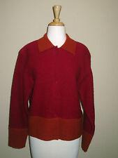 Garnet Hill Boiled Wool Burgandy Rust Jacket Sweater sz Medium