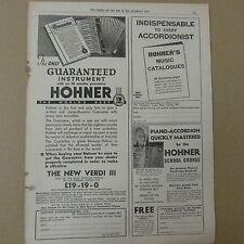 vintage advertise HOHNER PIANO ACCORDION, the new verdi III, 1930s
