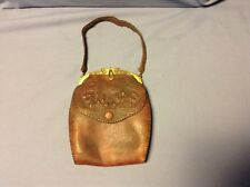 Antique Art Nouveau Floral Hand Tooled Purse Justin Leather Goods Jemco Frame