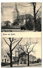 1909, AK, Gruss aus Dyrotz, Kirche, Schloss, Dorfstrasse, Verlag Joh. Lindenberg