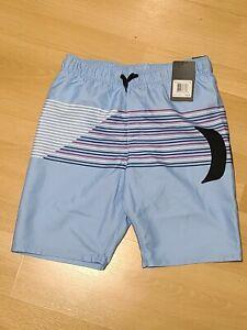 New Hurley Swim Shorts Trunks Board Short Boys Medium Blue Stripe