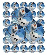 "30 Precut 1"" DISNEY FROZEN OLAF Bottle Cap Images for Pendant, Hair Bows S79"