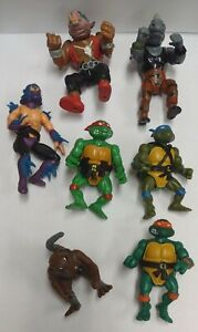 Lot of 7 TMNT Action Figures 1988 Playmates Toy Mirage Studios