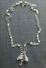Retired PLUNDER DESIGN Necklace TABITHA Silver Tone Charm Lanyard Faux Pearls