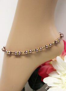 Glass Jewels Gold Fußkettchen Fußkette Perlen Braun Hippie Länge 29,5 cm #K084