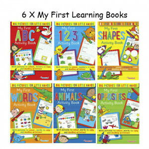 Learning Books Age 3-5 ABC 123 Pre School Reception Kids X 6 Books Fast Shipping