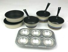 Vintage Kitchen Play Pots Pans 6 Pieces Pretend Cooking Miniature Metal Cookware