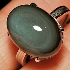 20.4CT 100% Natural 18K Gold Plated Mexican Rainbow Obsidian Ring UDRO25