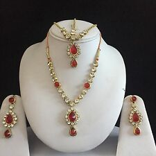 RED GOLD INDIAN COSTUME JEWELLERY NECKLACE EARRINGS MATHA PATTI CRYSTAL SET NEW