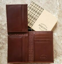NWT BOCONI Men's Brown Leather L-Fold RFID Blocking Wallet w/ Box