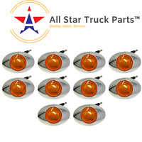 "3"" Oval Side Marker Light 3 LED Amber Chrome Bezel Freightliner Trailer-QTY 10"