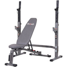 Body Champ PRO3900 Two Piece Set Olympic Weight Bench with Squat Rack, Gray