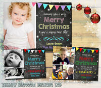 Pack Of 10 Kids Christmas Cards Chalkboard Bunting Personalised Thank You Cards