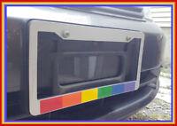 CHROME Plastic Gay Lesbian Rainbow Pride Flag License Plate Frame lgbt LBGTQ