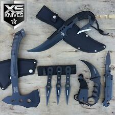 7pc Full Tang Dagger Pocket Knife Throwing Knives Tomahawk Axe Karambit Knife