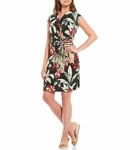 Tommy Bahama Clara Ocean Orchid Floral Dress Black Sz Extra Large NWT $158