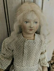 """Vintage doll w/stockinette painted face-antique handmade dress 11½"""""""
