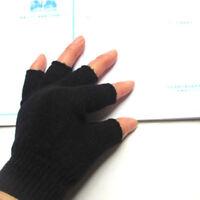 1 Pair Warm Winter Autumn Black Knitted Stretch Elastic Half Finger Gloves