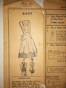 Vtg Original Mail Order Sewing Pattern PATCHWORK APRON 8407 WARTIME '40s Size 16