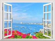 "Wall Mural - Beach of Pattaya | Creative Window View Wall Decor - 24""x32"""