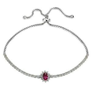 Flower Simulated Ruby Adjustable Bolo Tennis Bracelet in Sterling Silver