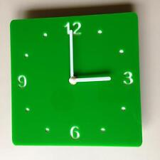 Square Bright Green & White Backed Clock White Hands Silent Sweep Movement