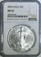 2003 NGC MS70 SILVER AMERICAN EAGLE MINT STATE 1 OZ .999 FINE BULLION