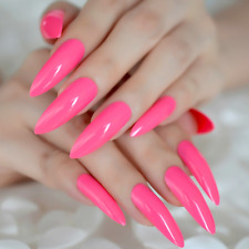 LONG STILETTO *HOT PINK* Full Cover Press On 24 Nail Tips + Glue!