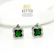 earrings Nails Silver Chip Square Clover CZ Inlaid Green Emerald NN4