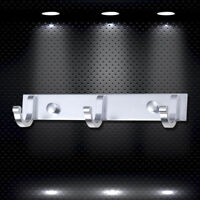 Bathroom Wall Mount Chrome 3 Hooks Robe Towel Hanger Holder Cloth Accessory Set