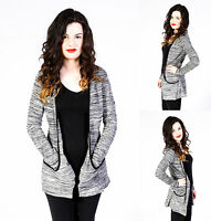 LADIES NEW LONG SLEEVE BOYFRIEND CARDIGAN WITH POCKETS GREY CONTRAST SIZE 8-24