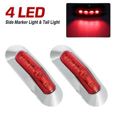 2pcs Red 4 SMD LED Side Marker Tail Lights Clearance Lamp Truck Trailer 12V