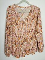 J Jill Sz L Button Front Long Sleeve Blouse Pink Tan Multi Pleated Front