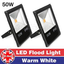 2X 50W LED Flood Light Warm White Garden IP65 Outdoor Landscape 85-240V AC Black