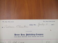 Vintage movie letterhead Berner Bros. publishing co Antigo advertising 7-3-1909