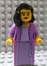 LEGO Castle Princess Girl Female Lady Queen Lavender Dress Black Hair , As Shown